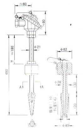 热套式热电偶(热电阻)产品结构图