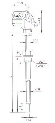 烟道、风道热电偶(热电阻)产品结构图