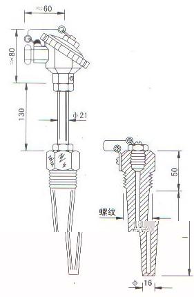 低温低压热电偶(热电阻)产品结构图